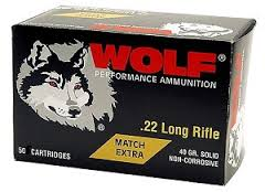 Wolf Extra Match .22 LR 40gr Solid