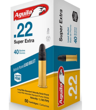 Aguila Super Extra High Velocity Ammunition 22 Long Rifle 40 Grain Lead Round Nose