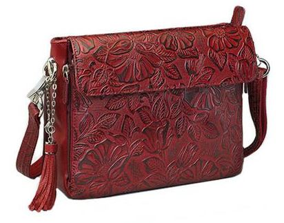 Gun Tote'n Mamas Tooled Leather Concealed Carry Weapon Purse Cherry