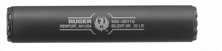 Ruger, Silent-SR, 22 LR Suppressor, 1.06″ Diameter,5.375″Overall Length, Titanium, Cerakote-Black Finish, 1/2×28