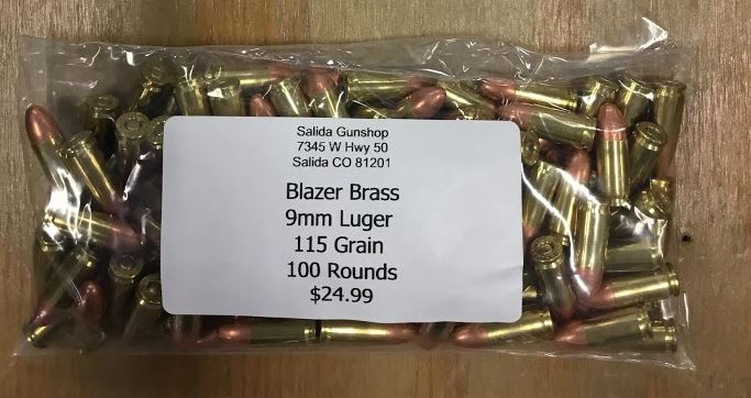 Blazer Brass Ammunition 9mm Luger 115 Grain 100 Rounds - Salida Gun Shop