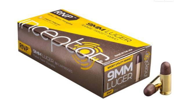 Polycase Inceptor Sport Utility Ammunition 9mm Luger 65 Grain Frangible Lead Free