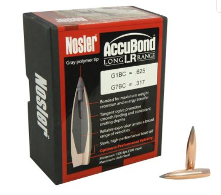 Nosler AccuBond Long Range Bullets 284 Caliber, 7mm (284 Diameter) 168 Grain Bonded Spitzer Boat Tail Box of 100